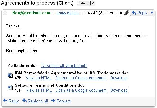 Email rendered by Notes client