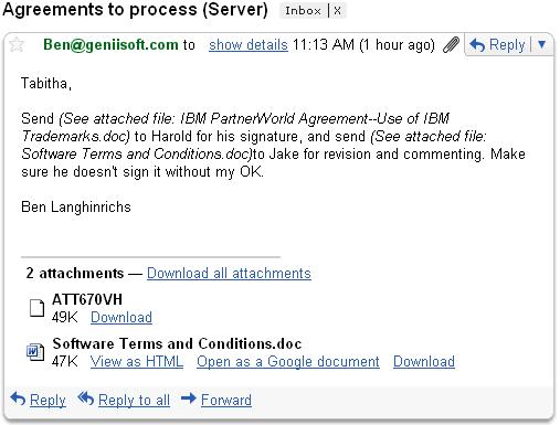 Email rendered by Domino server