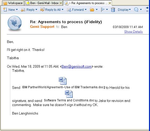 Pleasant reply to iFidelity rendered email