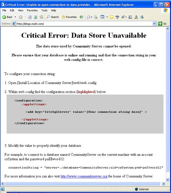Errors on blogs.msdn.com website