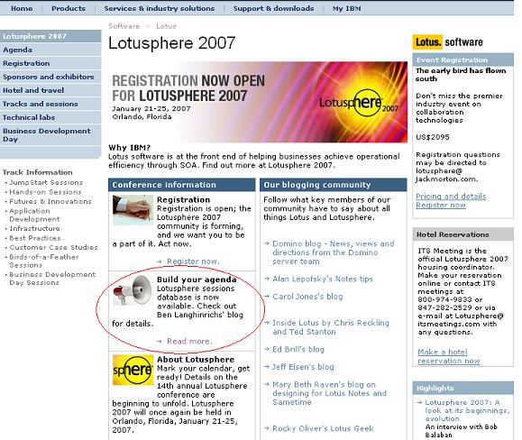 Lotusphere website prominent link