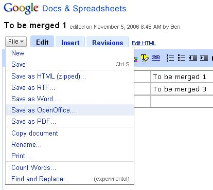 Menu item from Google Docs