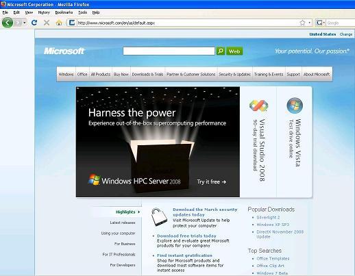 Microsoft Home page