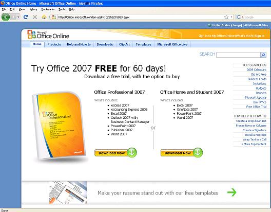 Office 2007 promo page