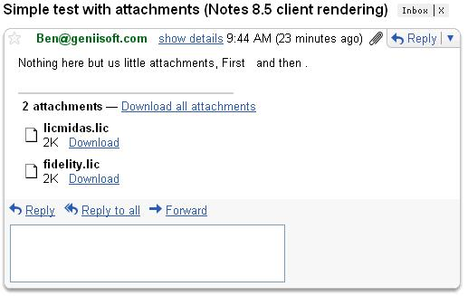 In Gmail after rendeing by Notes 8.5 client