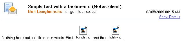 File attachments show in-line in Notes rich text memo