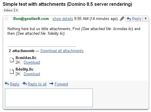 In Gmail after rendeing by Domino 8.5 server