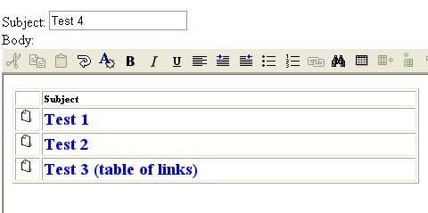 Table of links in best fit editor