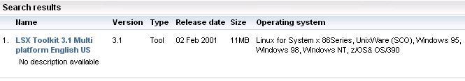LSX Toolkit list on IBM's website