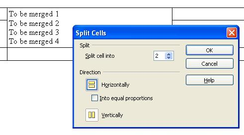 The split cells dialog from OpenOffice Writer