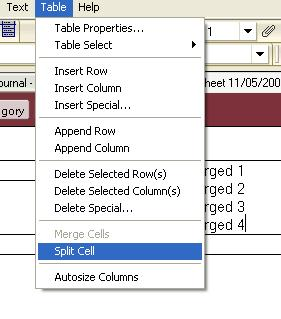 The Split cell menu item from Lotus Notes