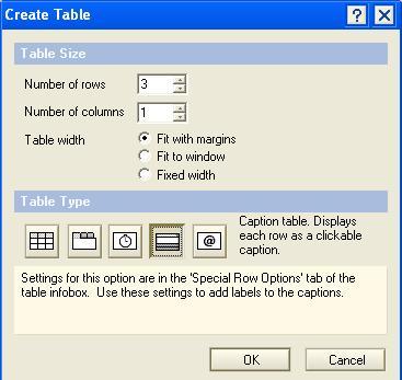 Create Table properties box