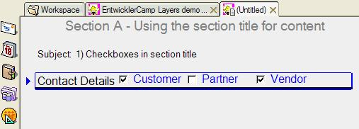 Checkboxes in section title bar