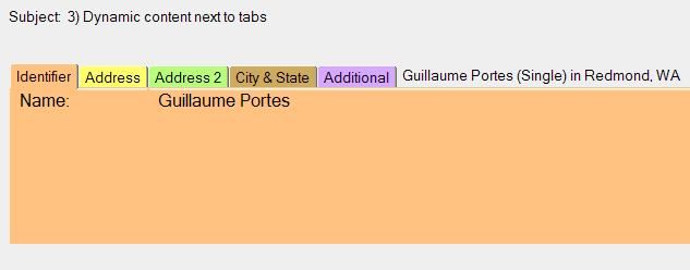 Computed text after tabbed table tabs