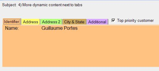 Checkbox after tabbed table tabs
