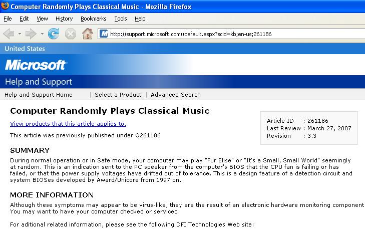 Microsoft technote about classical music