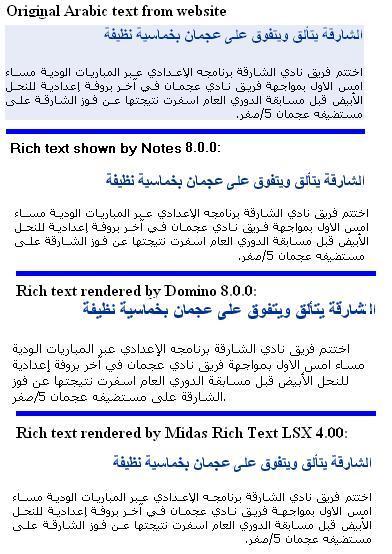Various renderings of Arabic text