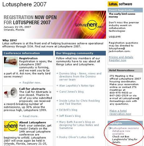 Lotusphere home page with link