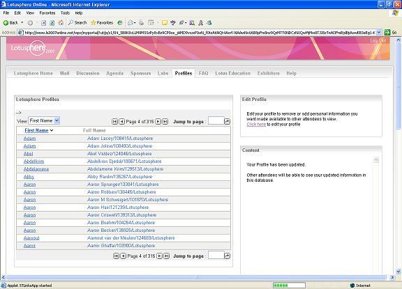 Lotusphere Online screen