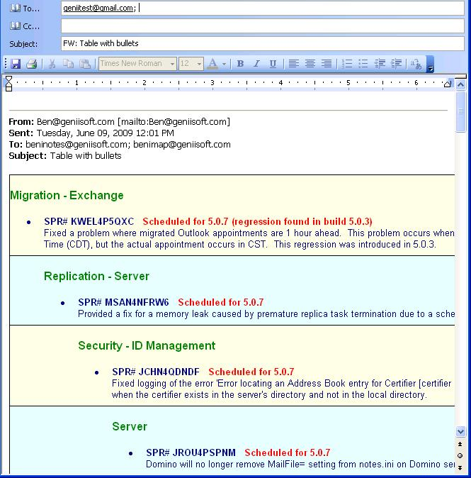 Formatted HTML email forwarded from Outlook 2007