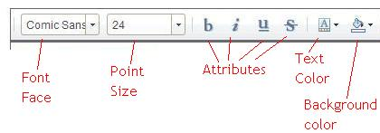 Toolbar with text attributes and settings