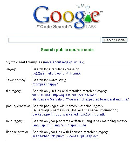 Google Code Search page